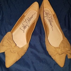 NWT Nude Camel Suede Pointy Toe Bow Flats